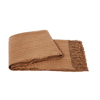 Waffleweave Wool Blend Throw Color: Camel