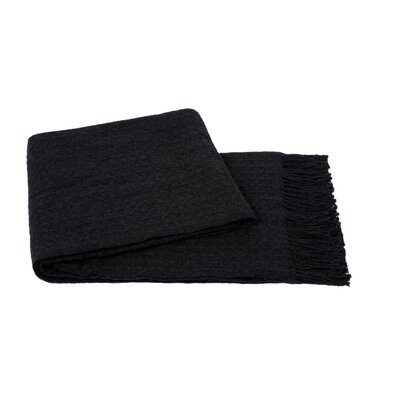 Waffle Weave Wool/Cashmere Blend Throw Color: Charcoal Grey