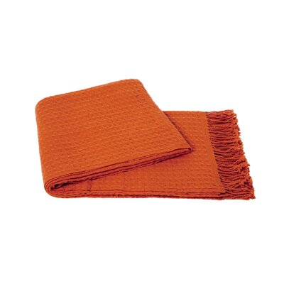 Waffle Weave Wool/Cashmere Blend Throw Color: Hermes