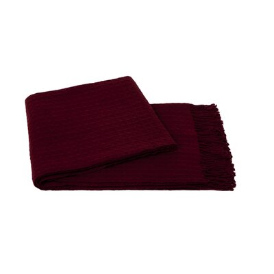 Waffle Weave Wool/Cashmere Blend Throw Color: Merlot