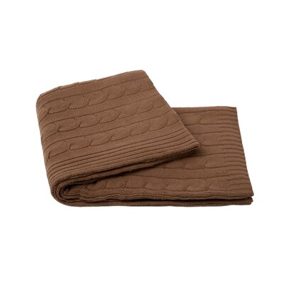 Cable Knit Cashmere Blend Throw Color: Camel