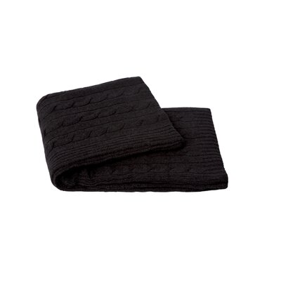 Cable Knit Cashmere Blend Throw Color: Charcoal Grey