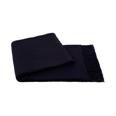 Waffle Weave Wool/Cashmere Blend Throw Color: Navy
