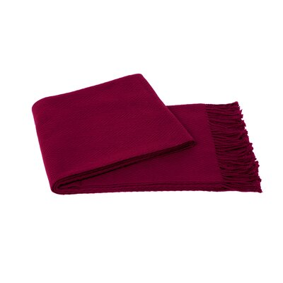 Chevron Wool Blend Throw Color: Raspberry