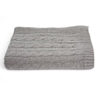 Cable Knit Cashmere Blend Throw Color: Heather Grey