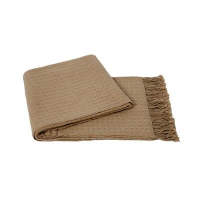 Waffle Weave Wool/Cashmere Blend Throw Color: Oat