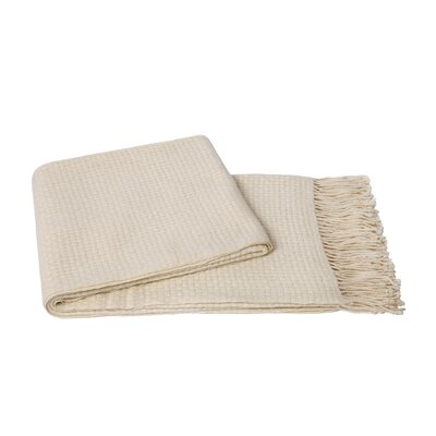 Basketweave Wool Blend Throw Color: Creme Fraiche