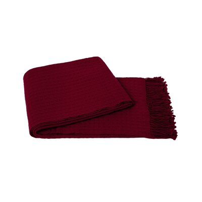 Waffle Weave Wool/Cashmere Blend Throw Color: Raspberry