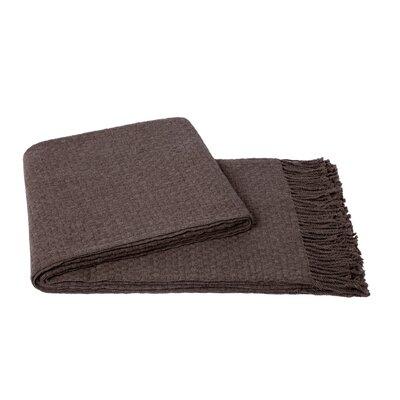 Basketweave Wool Blend Throw Color: Sand