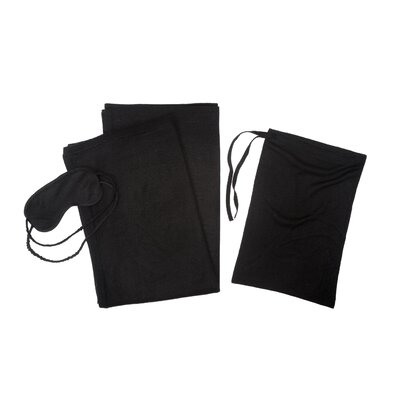 3 Piece Cashmere Throw Travel Set Color: Black
