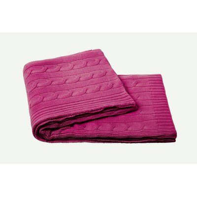 Cable Knit Cashmere Blend Throw Color: Raspberry