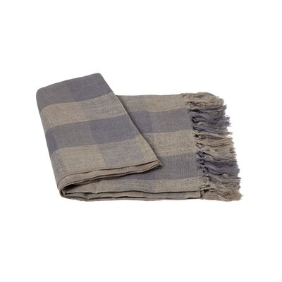 Check Linen Throw Color: Navy