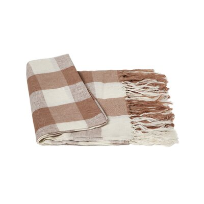 Check Linen Throw Color: Camel