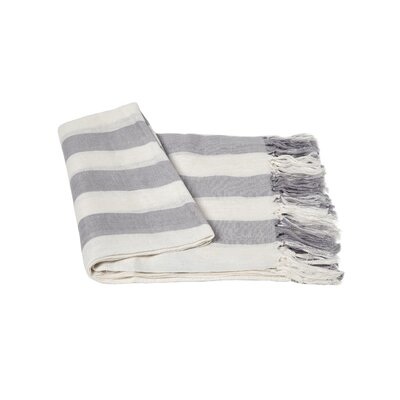 Stripe Linen Throw Blanket Color: Gray / Creme