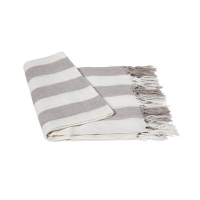 Stripe Linen Throw Blanket Color: Sand / Creme