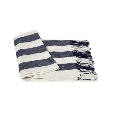 Stripe Linen Throw Blanket Color: Navy / Creme