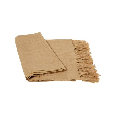 Solid Linen Throw Blanket Color: Camel