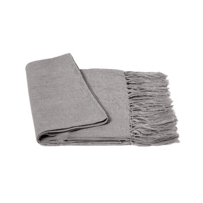 Solid Linen Throw Blanket Color: Gray