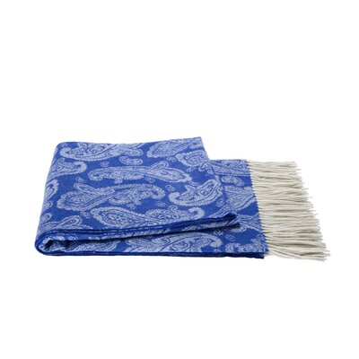 Cashmere and Merino Wool Throw Color: Olympian Blue / Creme