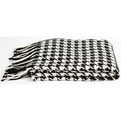 Cashmere & Merino Wool Throw Blanket Color: Black / White