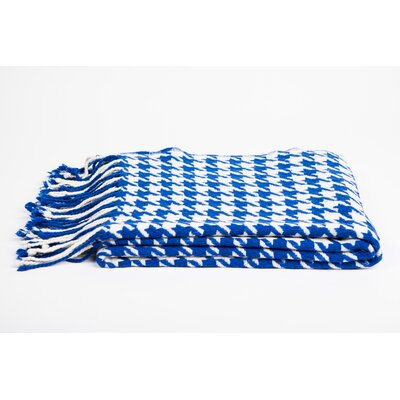 Cashmere & Merino Wool Throw Blanket Color: Cobalt /  Creme