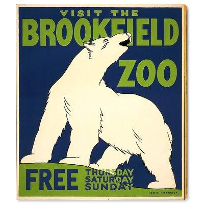 'Brookefield Zoo Polar Bear' Vintage Advertisement on Canvas Size: 16