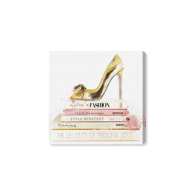 'Gold Shoe and Blush Books' Textual Art on Canvas Size: 12