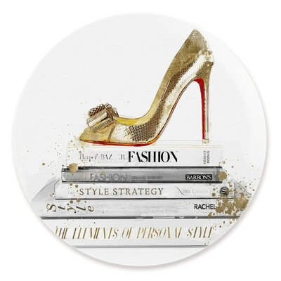 'Gold Shoe and Red Fashion' Graphic Art Print Size: 12