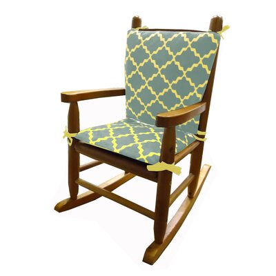 Minky Rocking Chair Cushion Fabric: Gray/yellow