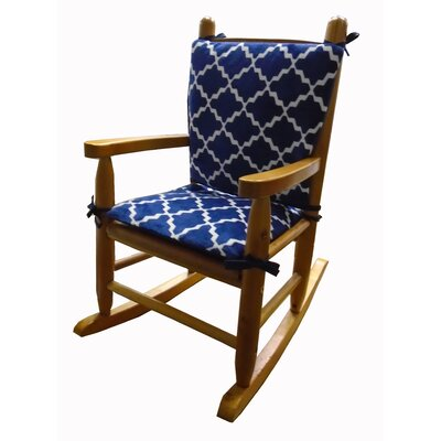 Minky Rocking Chair Cushion Fabric: NavyBlue/White