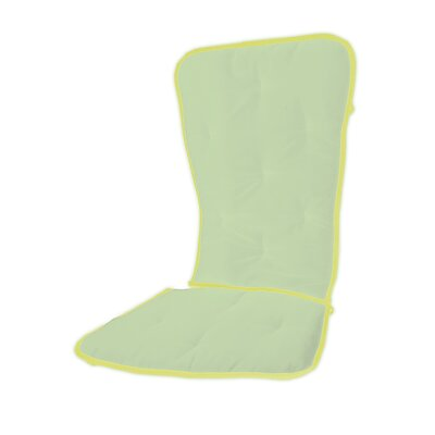 Solid Two Tone Rocking Chair Cushion Fabric: Mint/Yellow