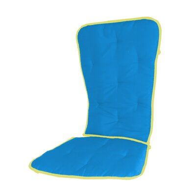 Solid Two Tone Rocking Chair Cushion Fabric: Aqua/yellow
