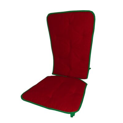 Solid Two Tone Rocking Chair Cushion Fabric: Red/Green