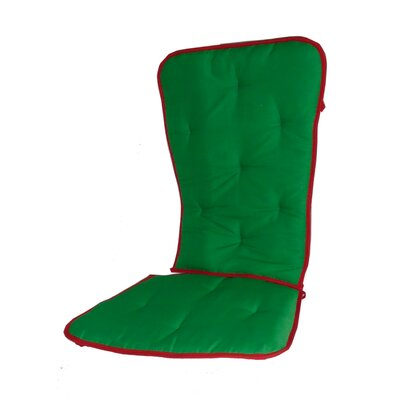 Solid Two Tone Rocking Chair Cushion Fabric: Green/Red