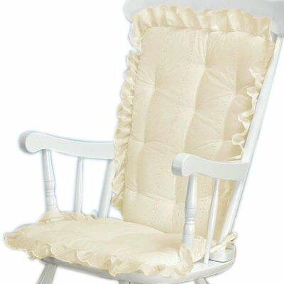 Carnation Eyelet Rocking Chair Cushion Fabric: Ecru