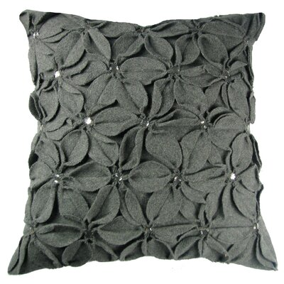 Poinsettias Jewels Felt Throw Pillow Color: Grey