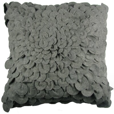 Puffy Dahlia Felt Throw Pillow Color: Grey