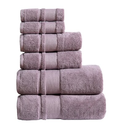 6 Piece Towel Set Color: Eggplant