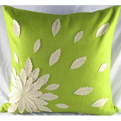 Felt Applique Flower Felt Throw Pillow Color: Green
