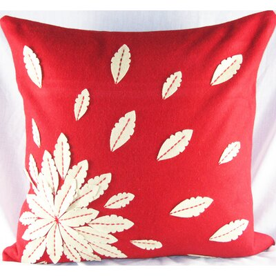 Felt Applique Flower Felt Throw Pillow Color: Red