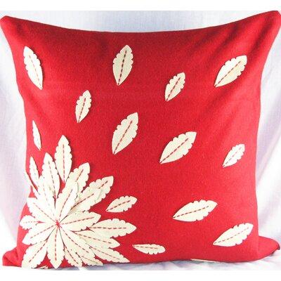 Felt Applique Flower Felt Throw Pillow Color: Red
