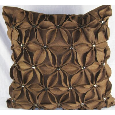Poinsettias Jewels Felt Throw Pillow Color: Brown