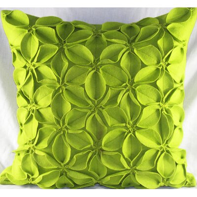 Poinsettias Felt Throw Pillow Color: Green