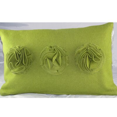 Ruffle Roses Felt Lumbar Pillow Color: Green
