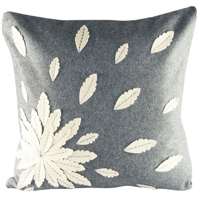 Felt Applique Flower Felt Throw Pillow Color: Grey