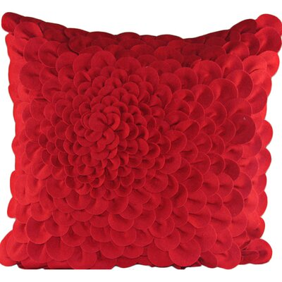 Puffy Dahlia Felt Throw Pillow Color: Red
