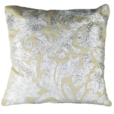 Lurex Floral Linen Throw Pillow Color: Silver