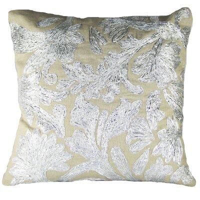 Lurex Floral Linen Throw Pillow Color: Silver