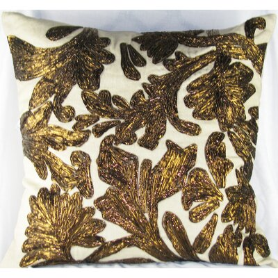 Lurex Floral Linen Throw Pillow Color: Copper