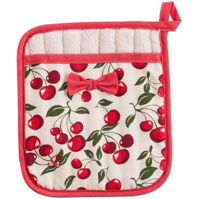 I Love Cherries Square Pot Mitt With Bow